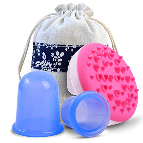 Anti-Cellulite Fascia Vacuum Suction Cups Multiple Uses for Muscle,Nerve,Joint Pain Relief and Cellulite Blaster Massage.Silicone Cupping Set Manage Tight Muscles,Sore Tendons, and Inflammation