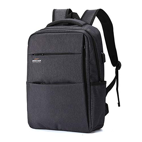 N / A Laptop backpack, portable laptop bag with USB charging port, anti-theft business backpack, waterproof School Backpack gift for men and women, suitable for 15.6 inch Laptop gray
