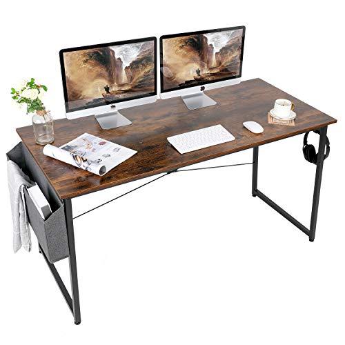AuAg Schreibtisch 140 x 60 cm, Computertisch mit Aufbewahrungstasche, PC-Tisch Bürotisch Officetisch für Home Office Schule, Stabil Laptop-Tisch Arbeitstisch (Vintage Braun)