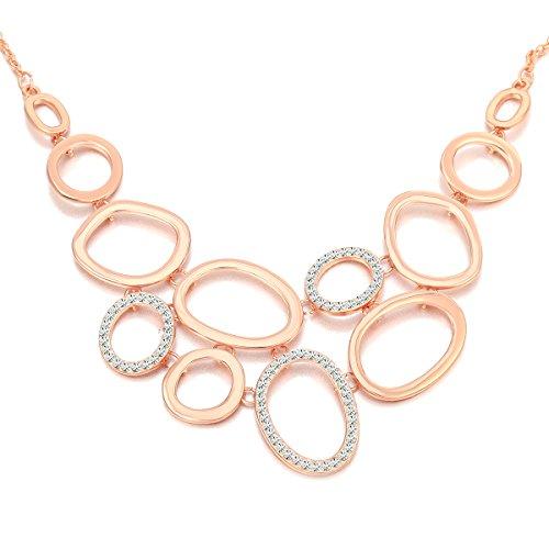 Collana donna, catena di anelli Collana pendente per ragazze Collana lunga catena di dichiarazione con collana di cristallo strass brillante (Oro rosa)