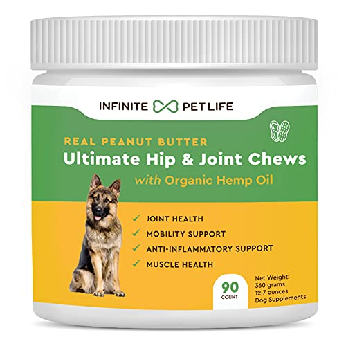 Infinite Pet Life Peanut Butter Hip and Joint Chews for Dogs   90 Chews 700mg Glucosamine for Dogs   Joint Supplement with Chondroitin
