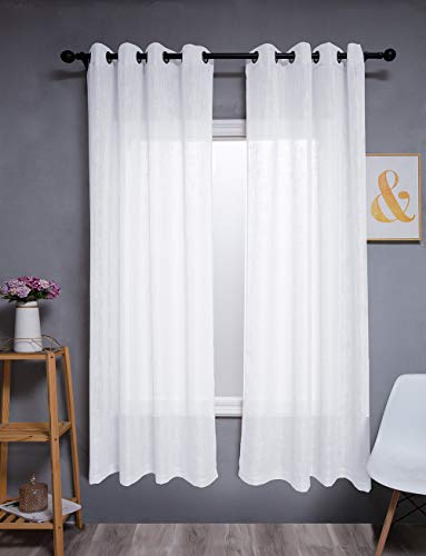 Kinryb White Linen Sheer Curtains Natural Linen Semi Sheer Curtains Light Filtering Burlap Curtains Ring Grommet Window Treatments Drapes, Privacy Assured, 72 Inches( White, 104' W Total 2 Panels)