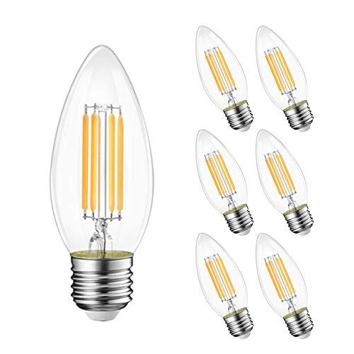 GY 6 Bombillas LED Edison vintage, C35 4W, 420 lúmenes, blanco cálido 2700K de alto brillo