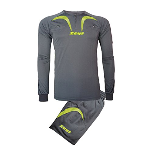 Zeus Herren Fußball-Schiedsrichter Trikot Shirt Hosen Klein Armel Kit Fußball Hallenfußball KIT ARBITRO PRO GRAU-GELB FLUO (XXL)