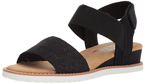 Skechers BOBS Women's Desert Kiss Sandal, Black, 8 M US
