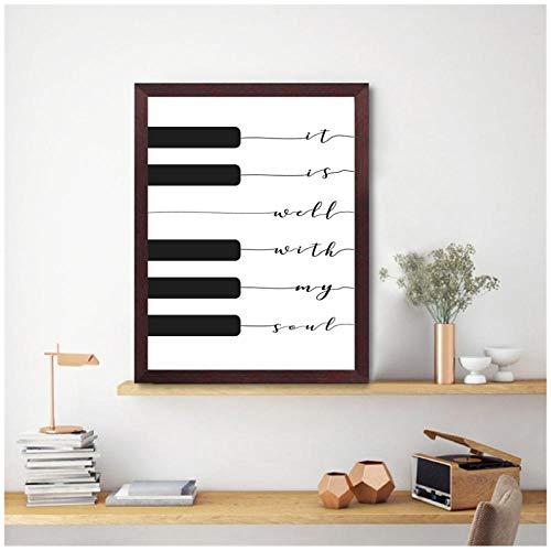 Moderne canvas schilderij Lyric Print het is goed met mijn ziel muziek Poster Piano toetsenbord Wall Art Canvas schilderij foto Home Decor / 50x70cm geen frame