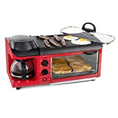 3-IN-1: This versatile breakfast station covers your entire morning breakfast, allowing you to make your coffee, toast and eggs all at once! MULTI-FUNCTIONING TOASTER: The toaster oven has a 30-minute timer with a glass door and can fit up to 4 slice...