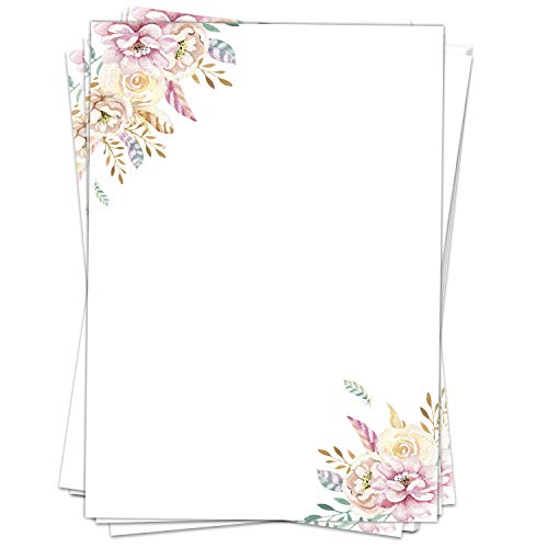 50 Blatt Briefpapier (A4) | Rosa Federn Blumen | Motivpapier | edles Design Papier | beidseitig bedruckt | Bastelpapier | 90 g/m²