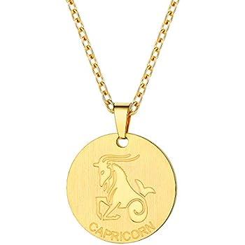 PROSTEEL Capricorn Zodiac Star Sign Coin Necklace 18K Gold Constellation Horoscope Pendant Men Women Jewelry Birthday Gift