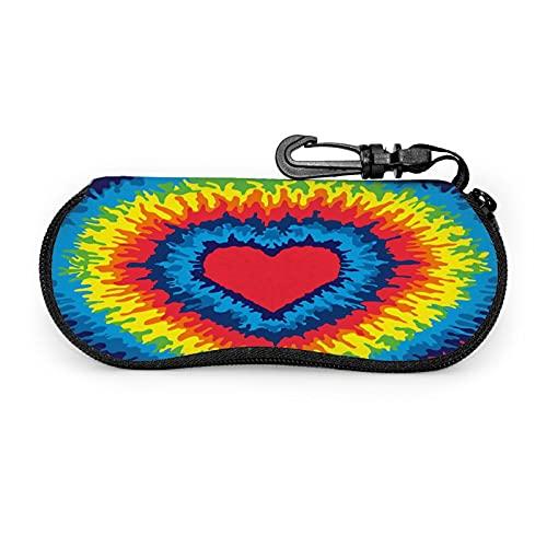 KZLXCH Fundas de Gafas Bolsa de neopreno para gafas de sol a prueba de polvo Colorful Tie Dye Heart Funda de gafas personalizada bolsa blanda con mosquetón