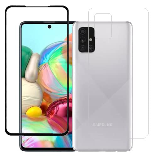 ECMERED® Touch Sensitive Samsung Galaxy A71 Back Screenguard (Transparent) and Screen Protector (Black).