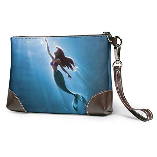 Little Mermaid Ariel Leather Clutch Bag Zip Wallet Wristlet Handbag for Women Purses