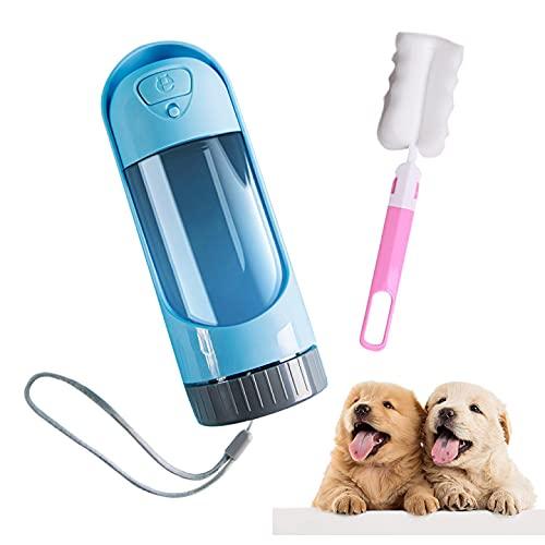 YeenGreen Botella Agua Perro Plegable, Botella de Agua para Perros Portátil, Botella de Agua para Perros 2 en 1, Botella de Agua para Perros Pequeños, Botella de Agua para Gatos con Cepillo
