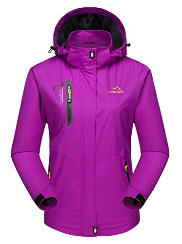 MAGCOMSEN Damen Regenjacke Wasserdicht Skijacke Outdoor Funktionsjacke Damenjacke Softshell Hoodies Winddicht Jacke für Angeln Camping Violett L