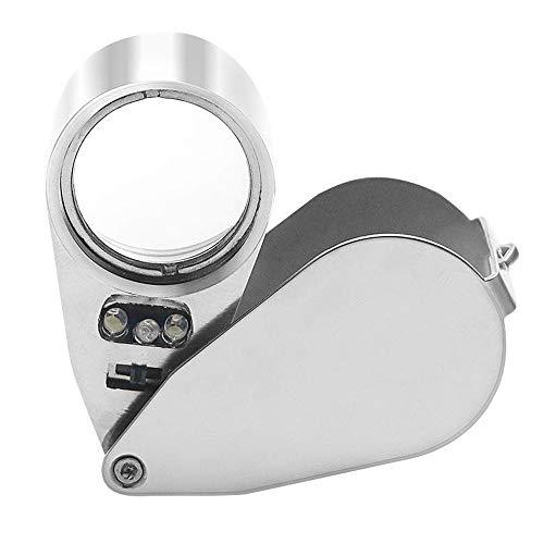 Powcan 40X25mm Juwelier Lupe LED Beleuchtete Juwelierlupe Schmuck Lupe Eye Optisches Glas Lupe LED-Licht UV-Dual Beleuchtung für Schmuck Diamanten Münzsammlung Briefmarkensammeln