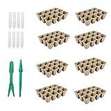 Holibanna 18 Piezas de Kit de Iniciación Biodegradable Ollas de Turba Bandejas de Germinación Elevadores de Plántulas con Etiquetas Herramientas de Jardín para Plantas de Plantas