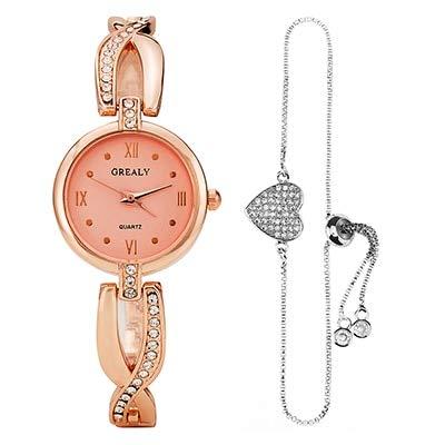 TCEPFS Frauen-Legierungs-Uhren mit reizendem Herz-hängendem Armband stellten für Geschenk-Uhr-Kasten-Oberseiten-heiße Entwerfer-Damen-Kleid-Armbanduhrenrosafarbenes Gold EIN