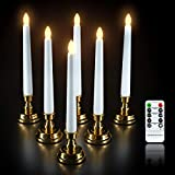 Pioplex Christmas Window Candles,6Pcs Flameless Taper Candles Flickering with Remote Timer 4 Modes Battery Operated Candles with Candlesticks for Christmas Decorations Party (Not Included Batterries)