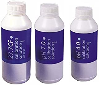 Bluelab Calibration Solution pH 4.0, 7.0 and 2.77 EC Conductivity Solution, 500 ml Each