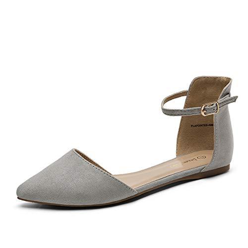 Dream Pairs Flapointed-Ankle Zapatos Planos con Punta Cerrada para Mujer Gris 42 EU/11 US