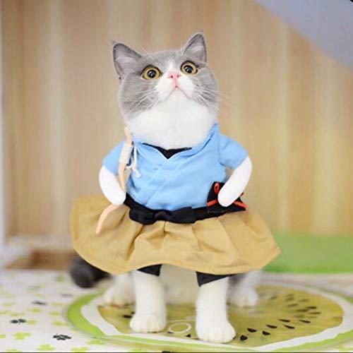 LUQINN Pet Clothes Funny Cat Dog Costume Uniform Suit Cat Clothes Costume Puppy Clothes Dressing Up Suit Party Clothing for Cat Cosplay Clothes, Size:M(Urashima Taro) Dog (Color : Urashima Taro)