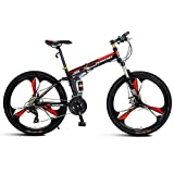 Folding Mountain Bike,Adult Mountain Trail Bike 24/26 Inch Wheels 24 Speed Bicycle Full Suspension MTB...