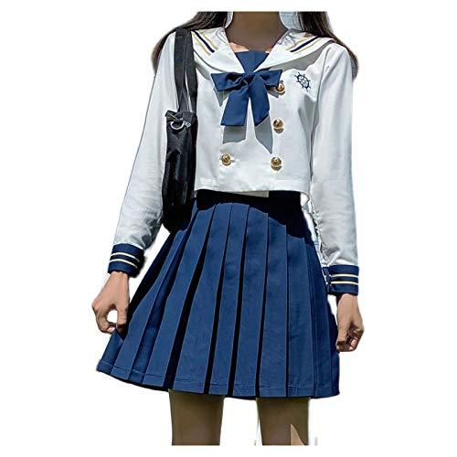 HSPHFX Mädchen Teenager JK Uniform Highschool Student Sailor Anzug, Kind Maiden Kostüm Sailor Moon Hemd Kleid, Weiche Seide, 3-Teile Langarm Bluse Kurzer Rock Bogen Set Für Frühling Herbst Winter