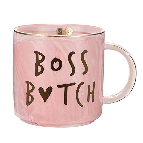 Boss Lady Mug - Best Gifts for Mom and Boss Women Friend - Funny Birthday Gifts for Boss Babe, Girl Boss, Best Boss, Girlfriend, Wife - Pink Marble Mugs, Ceramic 11.5oz Coffee Cup