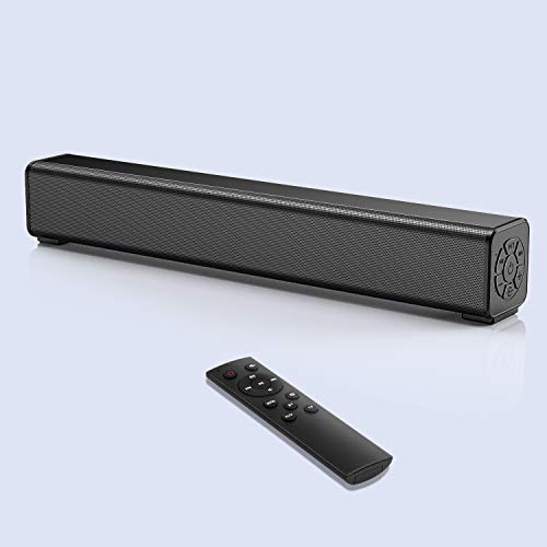 Computer Speaker Bar Wired and Wireless PC Speaker Bar with Remote Control,TF Card- Surround Sound Bar for Bedroom/PC/Phones/Tablets, 2 X 10W Compact Sound Bar 2.0 Channel
