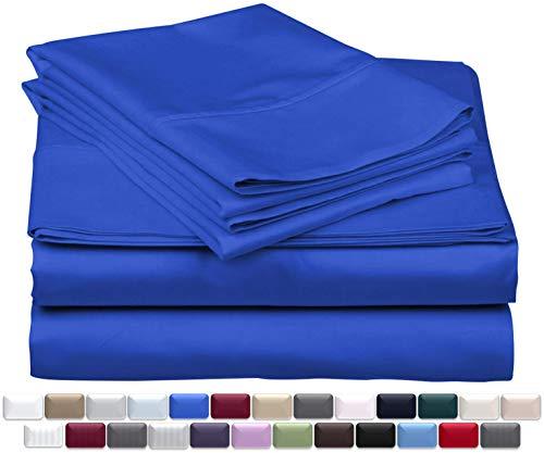 True Luxury 1000ThreadCount 100% Egyptian Cotton Bed Sheets 4Pc Queen Royal Egyptian Blue Sheet Set Single Ply LongStaple Yarns Sateen Weave Fits Mattress Upto 18#039#039 Deep Pocket