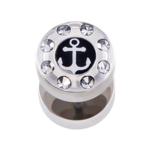 PIERCINGLINE Chirurgenstahl Fake Plug Stecker | Anker + KRISTALLRAND | Piercing Ohr Tube Tunnel