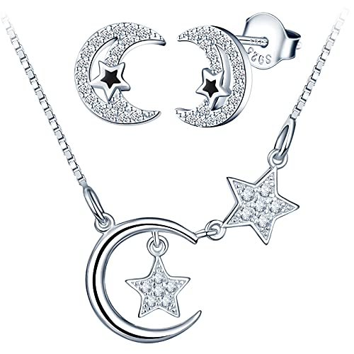 Yumilok Cadena y pendientes, collar de plata 925 con colgante de luna y estrella para mujer, regalo para el Día de la Madre