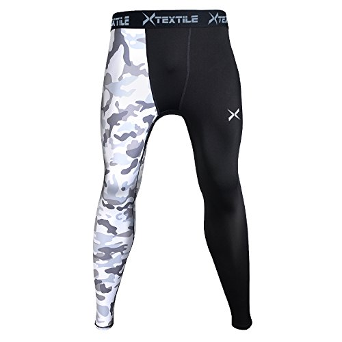 Xtextile Mens Sports Compression Pants, Cool Dry Sports Tight Leggings for Gym, Basketball, Cycling, Yoga, Hiking (White Camouflage, Small)