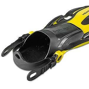 HEAD Italian Collection Volo One Adjustable Snorkeling Fin, Yellow, Medium, (7-10)