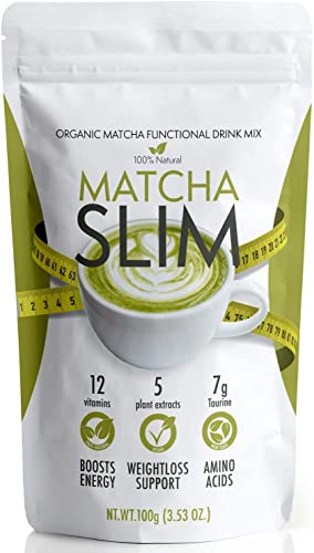 Matcha Slim Energy Drink Mix Powder Supplement with Taurine & Spirulina 100g – Natural, Sugar Free, Vitamin Rich Green Tea Diet Detox Fuel for Weight Loss Support & Metabolism Boost in Women, Men