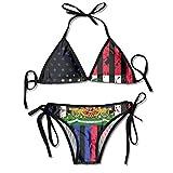 Kimisoy American Haitian Flag Bikinifor WomenTwoPieceSwimsuitsPaddedPushupBathingSuits Black
