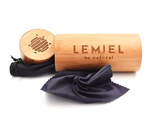 LEMIEL Brillenetui Hardcase aus nachhaltigem Bambus Holz I Sunglasses Case extra robust für Damen und Herren I Brillenhülle Hartschale, Glasses Etui, Natur