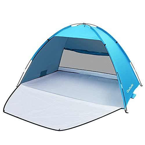 Qomolo Carpa de Playa para 3-4 Personas, UPF 50+ Tienda de Playa Carpa de Playa Portátil, 220×145×125 cm, para Camping, Pesca, Picnic (Azul Claro)