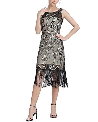 Peacock Sleeveless Midi Beading 1920S Women's Fringed Flapper Costumes Dresses Black/Beige