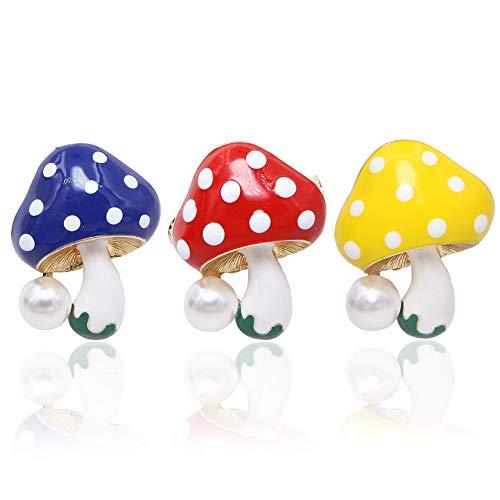 Unigift - Set di 3 Fermagli smaltati con Perle a Forma di Fungo, Idea Regalo per Donne, Ragazze e Bambini