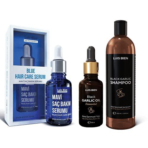 Luis Bien Perfect Hair Care Set, Sérum Blue Hair Care, Huile d'ail noir, Shampooing à l'ail noir, Pour des cheveux plus forts et plus épais, Croissance des cheveux, Anti-chute de cheveux