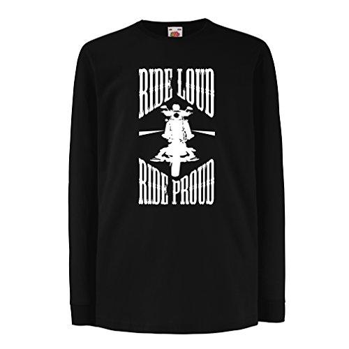 N4695D Kinder-T-Shirt mit Langen Ärmeln Ride Loud! (9-11 Years Schwarz Mehrfarben)