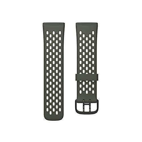 Fitbit Unisex-Adult Versa 3/Sense Watch Strap, Tarngrün/Mondweiß, Large