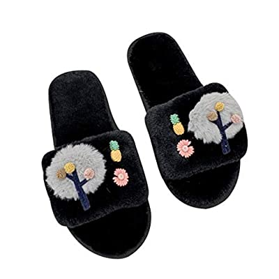 Amazon - Save 21%: Women Fuzzy House Slippers, Open Toe Slippers with Plush Upper, Indoor…