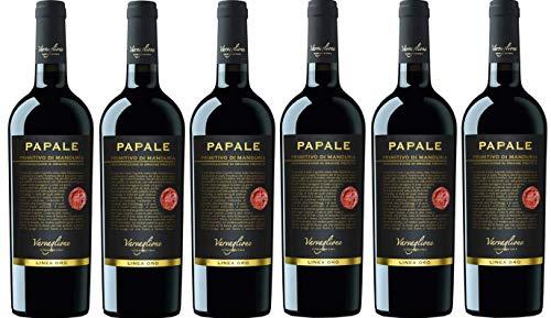 6er Vorteilspaket Papale Linea Oro Primitivo di Manduria DOP 2017 | Varvaglione | Rotwein aus Apulien | 6 x 0,75l | mit Drop Stop Weinausgießer fabelhafte-geschenke