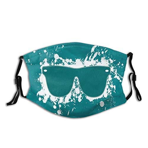 Protector facial bandana pasamontañas, de algodón, para hombres y mujeres, funda lavable de 5 capas, reutilizable, con dos filtros, gafas, salpicaduras, fondos, blanco, azul, verde