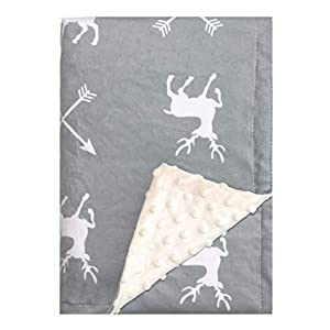 Minky Baby Blanket 30″ x 40″ – Deer – Soft Swaddle Blanket for Newborns and Toddlers – Best for Boy or Girl Crib Bedding, Nursery, and Security – Plush Double Layer Fleece Fabric