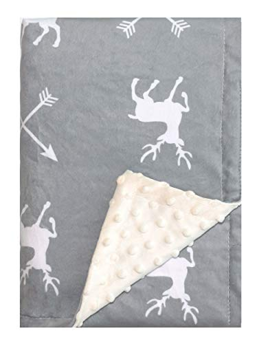 """Minky Baby Blanket 30"""" x 40"""" - Deer - Soft Swaddle Blanket for Newborns and Toddlers - Best for Boy or Girl Crib Bedding, Nursery, and Security - Plush Double Layer Fleece Fabric"""