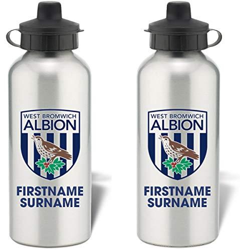 Personalised West Bromwich Albion FC Bold Crest Aluminium Sports Water Bottle - Silver Bottle