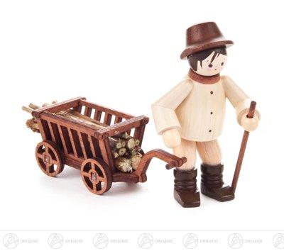 Miniatur Waldarbeiter mit Wagen natur Höhe ca 6,5 cm NEU Erzgebirge Weihnachtsfigur Holzfigur
